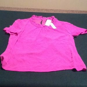 NWT pink j-crew silk top with furrowed neck line